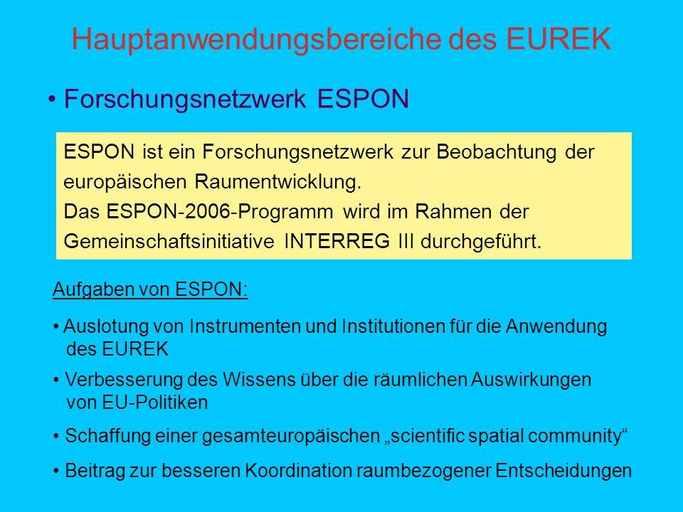 Hauptanwendungsbereiche des EUREK ESPON ist ein Forschungsnetzwerk zur Beobachtung der europäischen Raumentwicklung.