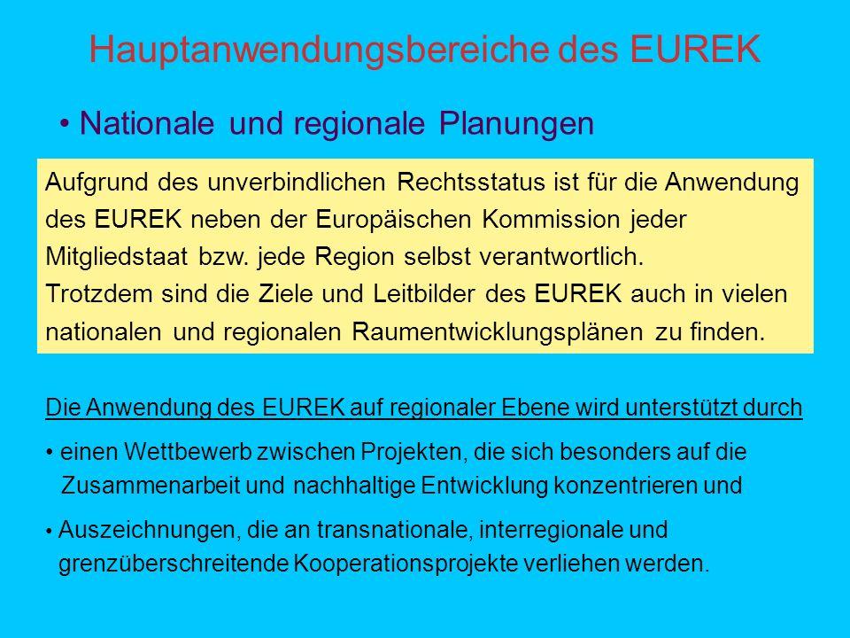 Hauptanwendungsbereiche des EUREK Nationale und regionale Planungen Aufgrund des unverbindlichen Rechtsstatus ist für die Anwendung des EUREK neben der Europäischen Kommission jeder Mitgliedstaat bzw.