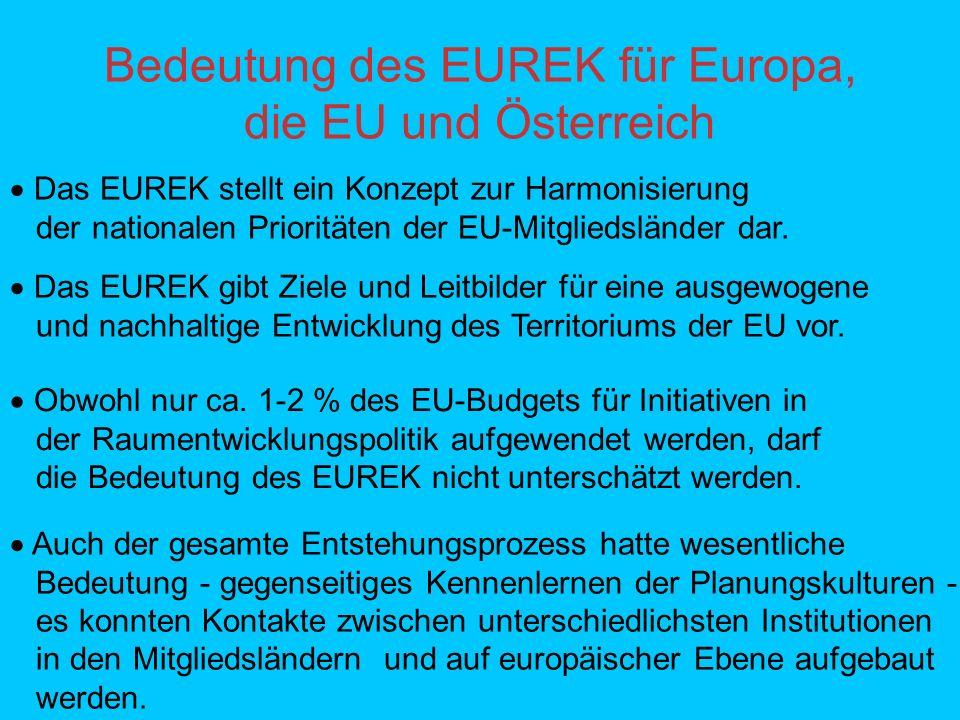 Bedeutung des EUREK für Europa, die EU und Österreich Das EUREK stellt ein Konzept zur Harmonisierung der nationalen Prioritäten der EU-Mitgliedsländer dar.