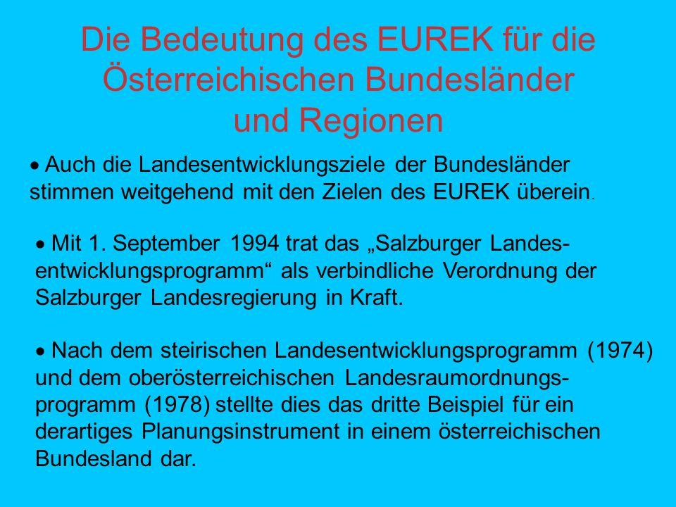 Die Bedeutung des EUREK für die Österreichischen Bundesländer und Regionen Auch die Landesentwicklungsziele der Bundesländer stimmen weitgehend mit den Zielen des EUREK überein.