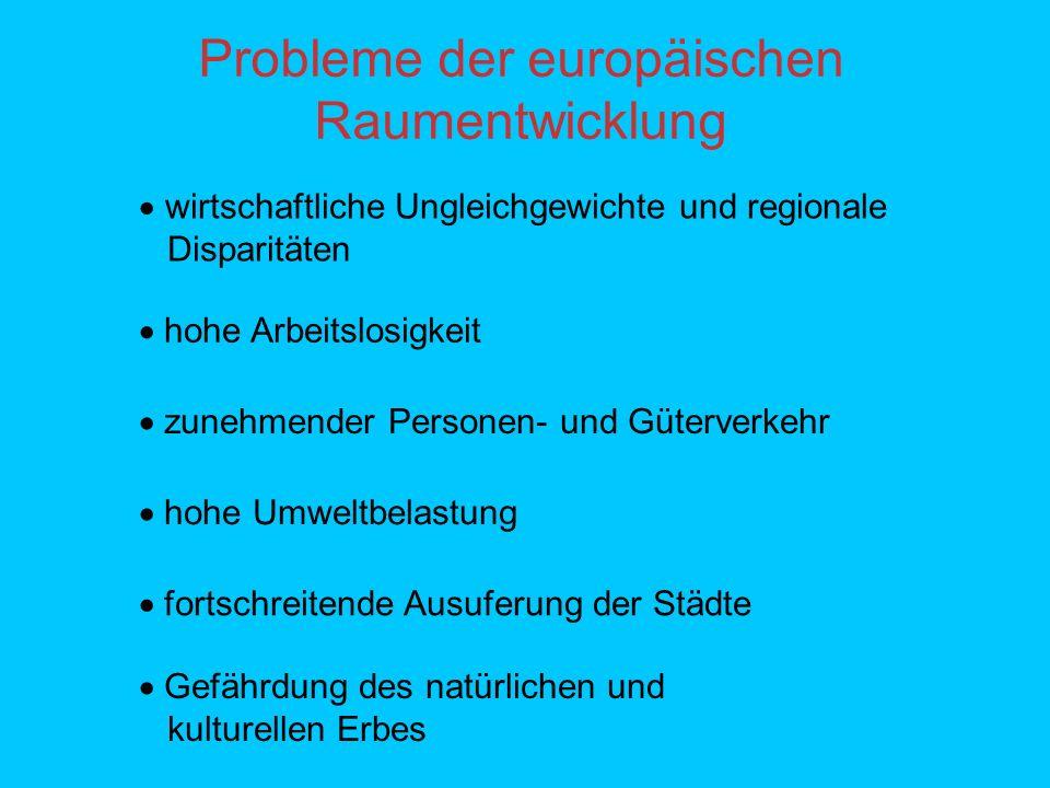 Aufbau des EUREK - Dokuments Teil A beinhaltet die Kapitel: Der räumliche Ansatz auf europäischer Ebene Einfluss der Politiken der Gemeinschaft auf das Territorium der EU Politische Ziele und Optionen Die Anwendung des EUREK Die Erweiterung der EU