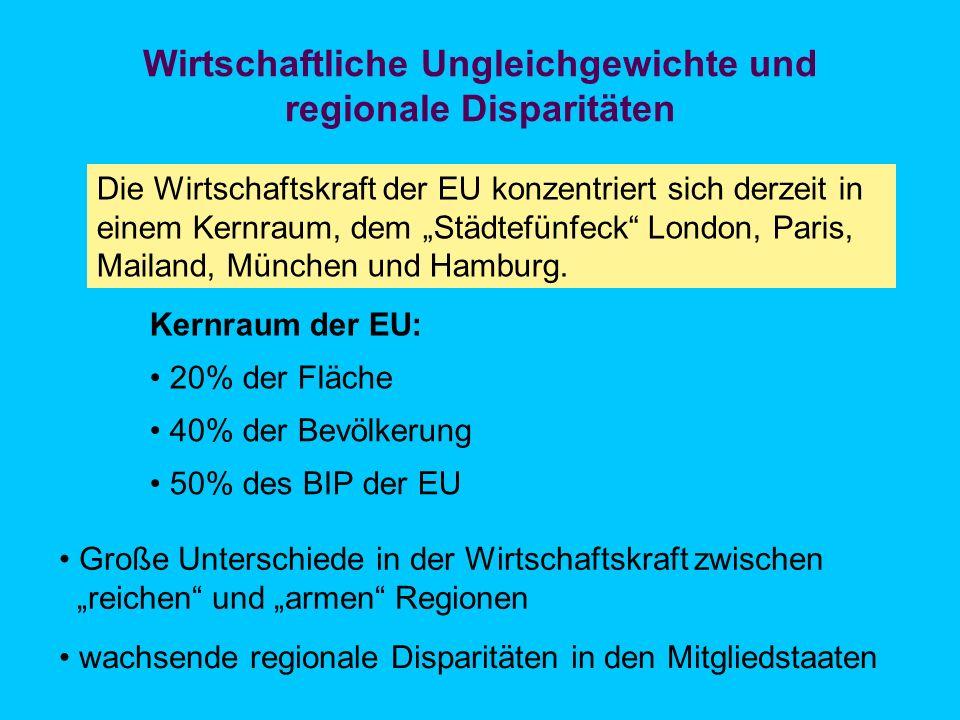 Regionale Unterschiede im BIP pro Kopf Quelle: EUREK, S. 8