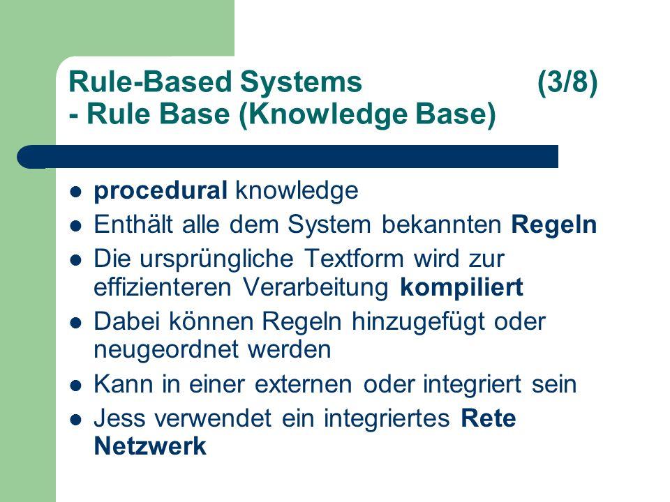 Rule-Based Systems(3/8) - Rule Base (Knowledge Base) procedural knowledge Enthält alle dem System bekannten Regeln Die ursprüngliche Textform wird zur effizienteren Verarbeitung kompiliert Dabei können Regeln hinzugefügt oder neugeordnet werden Kann in einer externen oder integriert sein Jess verwendet ein integriertes Rete Netzwerk