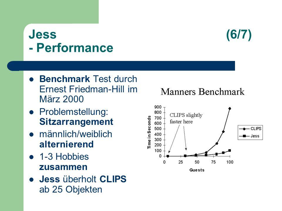 Jess(6/7) - Performance Benchmark Test durch Ernest Friedman-Hill im März 2000 Problemstellung: Sitzarrangement männlich/weiblich alternierend 1-3 Hobbies zusammen Jess überholt CLIPS ab 25 Objekten