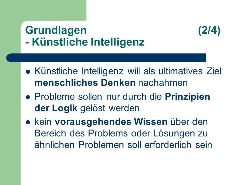 Grundlagen(2/4) - Künstliche Intelligenz Künstliche Intelligenz will als ultimatives Ziel menschliches Denken nachahmen Probleme sollen nur durch die Prinzipien der Logik gelöst werden kein vorausgehendes Wissen über den Bereich des Problems oder Lösungen zu ähnlichen Problemen soll erforderlich sein