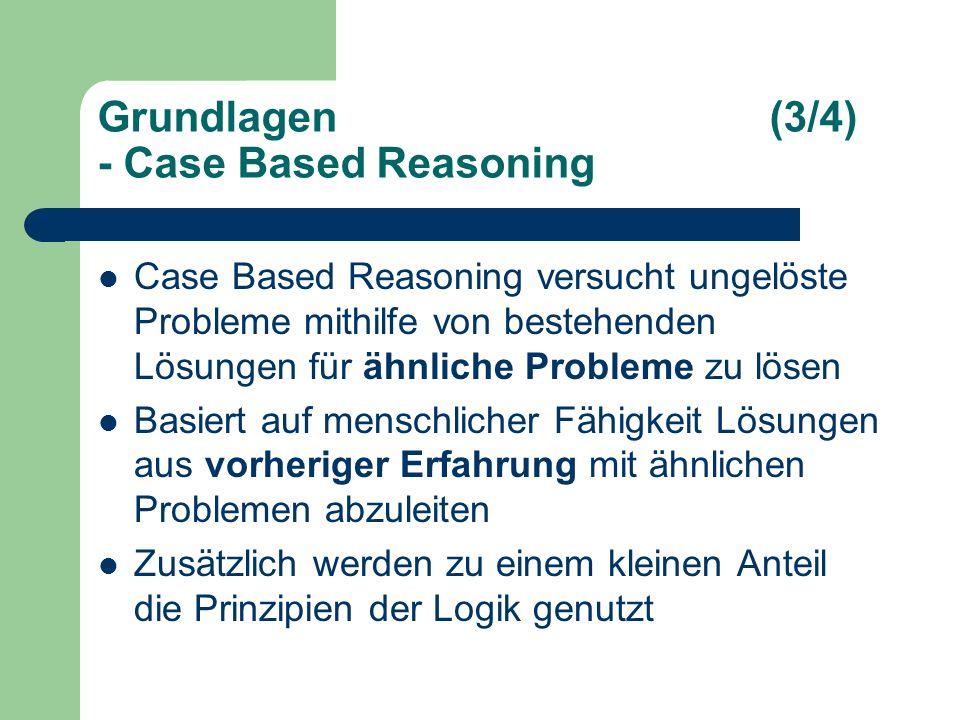 Grundlagen(3/4) - Case Based Reasoning Case Based Reasoning versucht ungelöste Probleme mithilfe von bestehenden Lösungen für ähnliche Probleme zu lösen Basiert auf menschlicher Fähigkeit Lösungen aus vorheriger Erfahrung mit ähnlichen Problemen abzuleiten Zusätzlich werden zu einem kleinen Anteil die Prinzipien der Logik genutzt