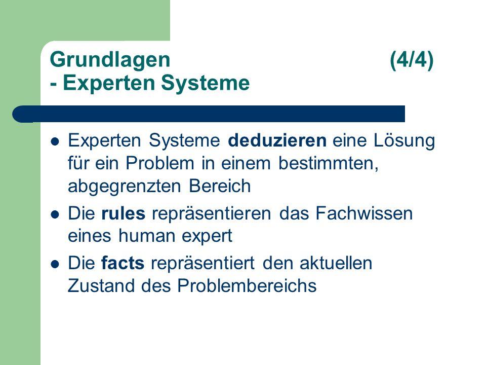 Grundlagen(4/4) - Experten Systeme Experten Systeme deduzieren eine Lösung für ein Problem in einem bestimmten, abgegrenzten Bereich Die rules repräsentieren das Fachwissen eines human expert Die facts repräsentiert den aktuellen Zustand des Problembereichs