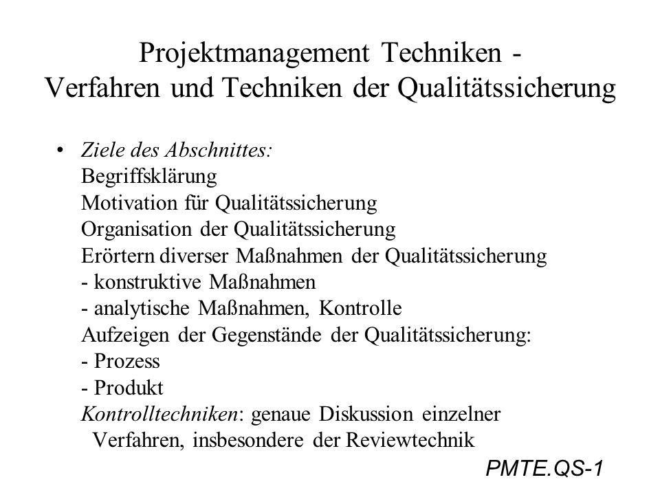PMTE.QS-1 Projektmanagement Techniken - Verfahren und Techniken der Qualitätssicherung Ziele des Abschnittes: Begriffsklärung Motivation für Qualitäts