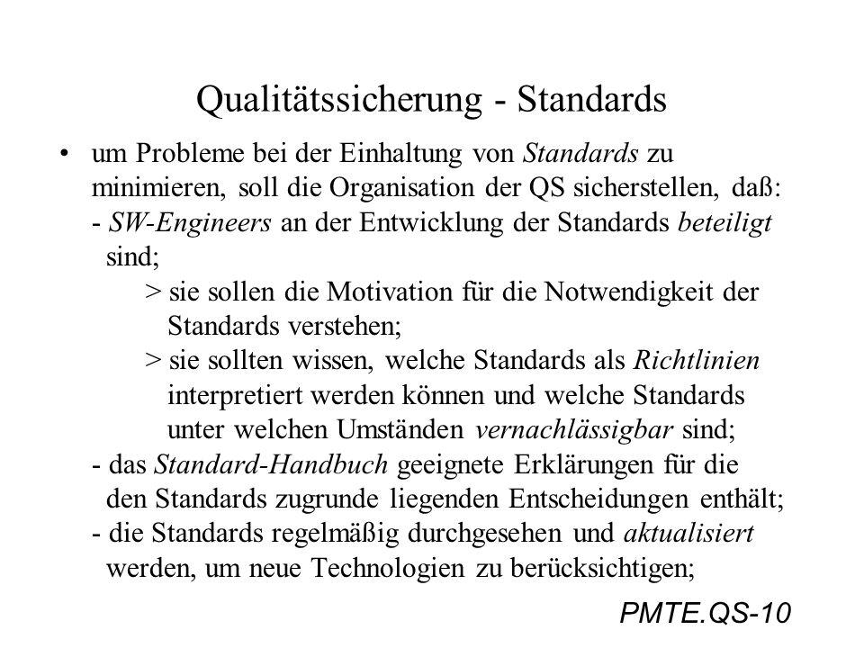 PMTE.QS-10 Qualitätssicherung - Standards um Probleme bei der Einhaltung von Standards zu minimieren, soll die Organisation der QS sicherstellen, daß: