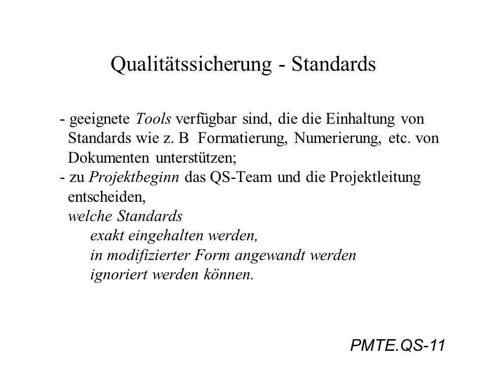 PMTE.QS-11 Qualitätssicherung - Standards - geeignete Tools verfügbar sind, die die Einhaltung von Standards wie z. B Formatierung, Numerierung, etc.