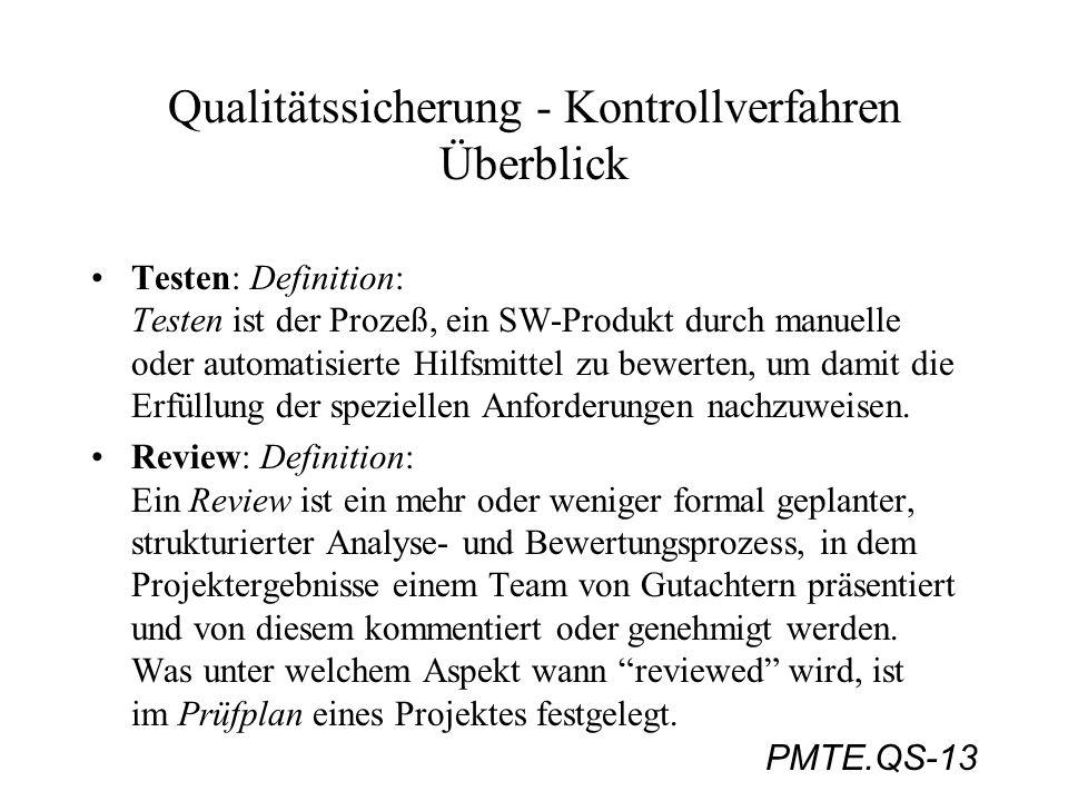 PMTE.QS-13 Qualitätssicherung - Kontrollverfahren Überblick Testen: Definition: Testen ist der Prozeß, ein SW-Produkt durch manuelle oder automatisier
