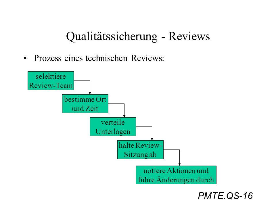 PMTE.QS-16 Qualitätssicherung - Reviews Prozess eines technischen Reviews: selektiere Review-Team bestimme Ort und Zeit verteile Unterlagen halte Revi