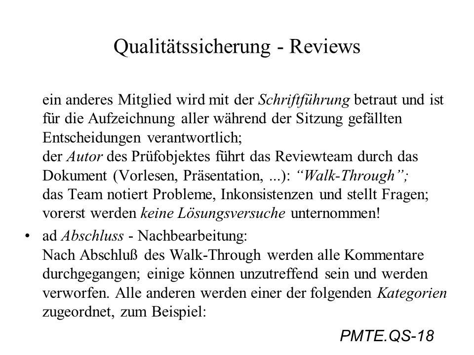PMTE.QS-18 Qualitätssicherung - Reviews ein anderes Mitglied wird mit der Schriftführung betraut und ist für die Aufzeichnung aller während der Sitzun