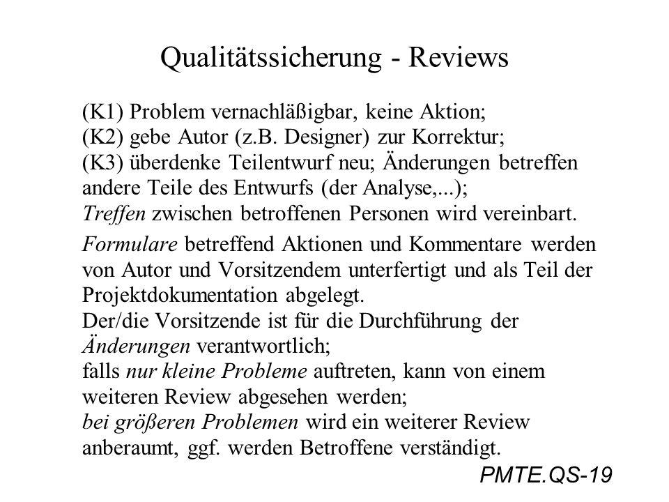 PMTE.QS-19 Qualitätssicherung - Reviews (K1) Problem vernachläßigbar, keine Aktion; (K2) gebe Autor (z.B. Designer) zur Korrektur; (K3) überdenke Teil