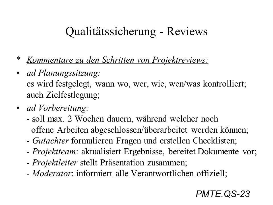 PMTE.QS-23 Qualitätssicherung - Reviews *Kommentare zu den Schritten von Projektreviews: ad Planungssitzung: es wird festgelegt, wann wo, wer, wie, we