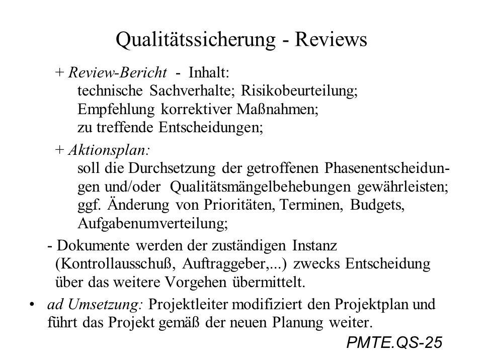 PMTE.QS-25 Qualitätssicherung - Reviews + Review-Bericht - Inhalt: technische Sachverhalte; Risikobeurteilung; Empfehlung korrektiver Maßnahmen; zu tr