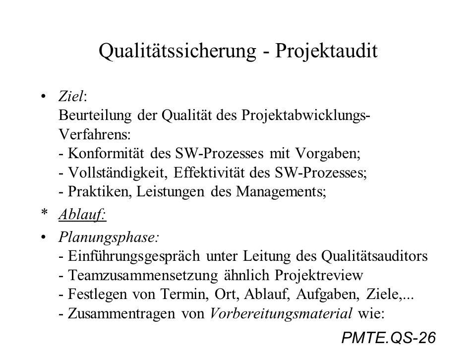 PMTE.QS-26 Qualitätssicherung - Projektaudit Ziel: Beurteilung der Qualität des Projektabwicklungs- Verfahrens: - Konformität des SW-Prozesses mit Vor