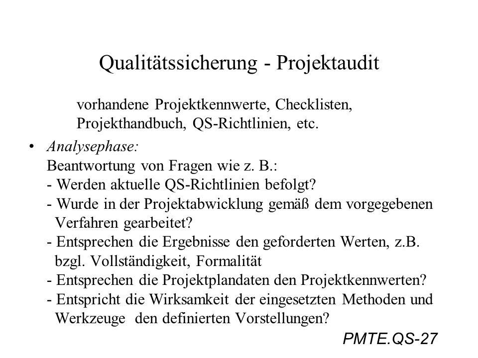 PMTE.QS-27 Qualitätssicherung - Projektaudit vorhandene Projektkennwerte, Checklisten, Projekthandbuch, QS-Richtlinien, etc. Analysephase: Beantwortun