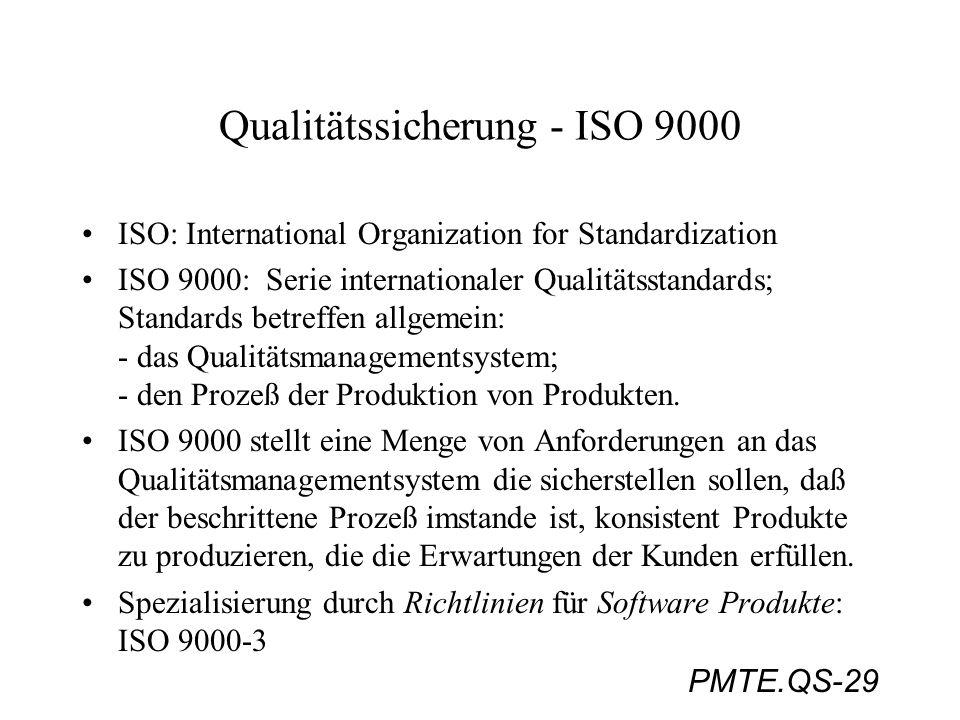 PMTE.QS-29 Qualitätssicherung - ISO 9000 ISO: International Organization for Standardization ISO 9000: Serie internationaler Qualitätsstandards; Stand
