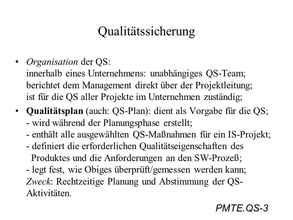 PMTE.QS-3 Qualitätssicherung Organisation der QS: innerhalb eines Unternehmens: unabhängiges QS-Team; berichtet dem Management direkt über der Projekt
