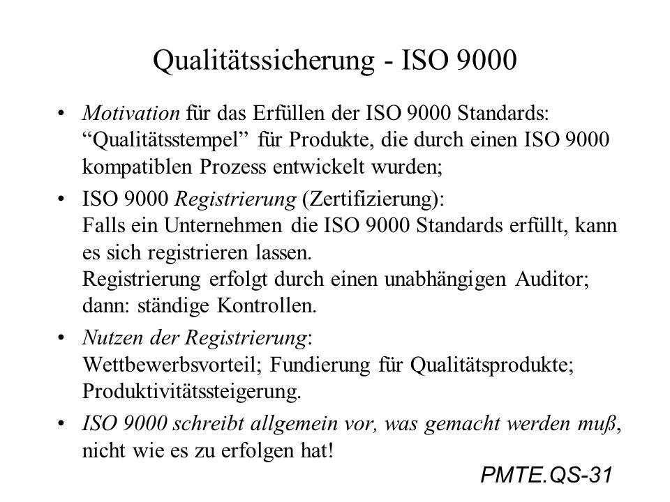 PMTE.QS-31 Qualitätssicherung - ISO 9000 Motivation für das Erfüllen der ISO 9000 Standards: Qualitätsstempel für Produkte, die durch einen ISO 9000 k