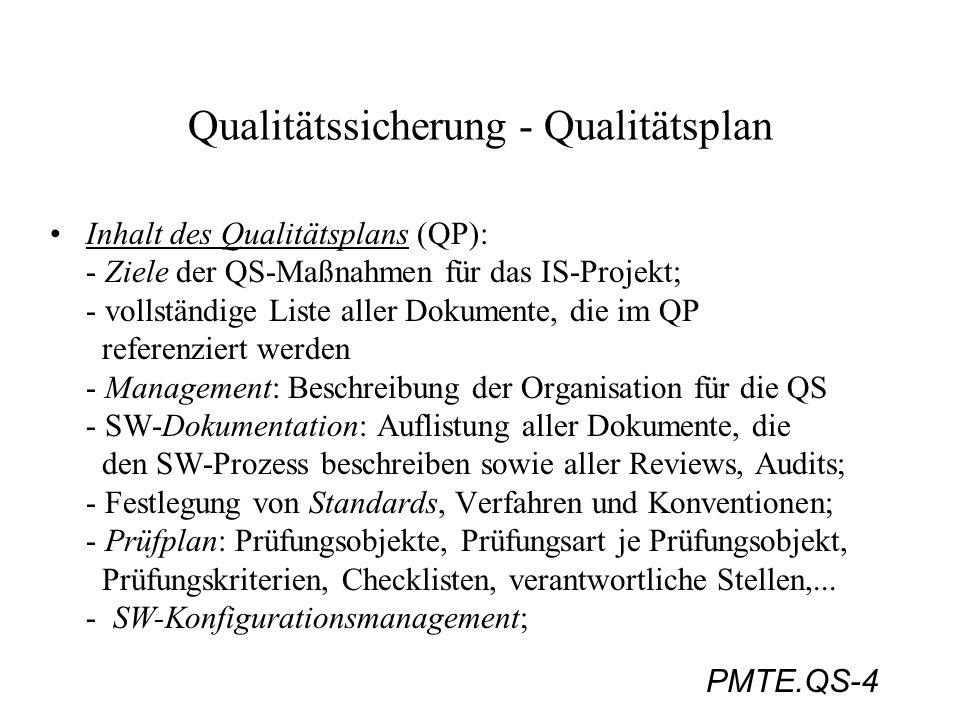 PMTE.QS-4 Qualitätssicherung - Qualitätsplan Inhalt des Qualitätsplans (QP): - Ziele der QS-Maßnahmen für das IS-Projekt; - vollständige Liste aller D