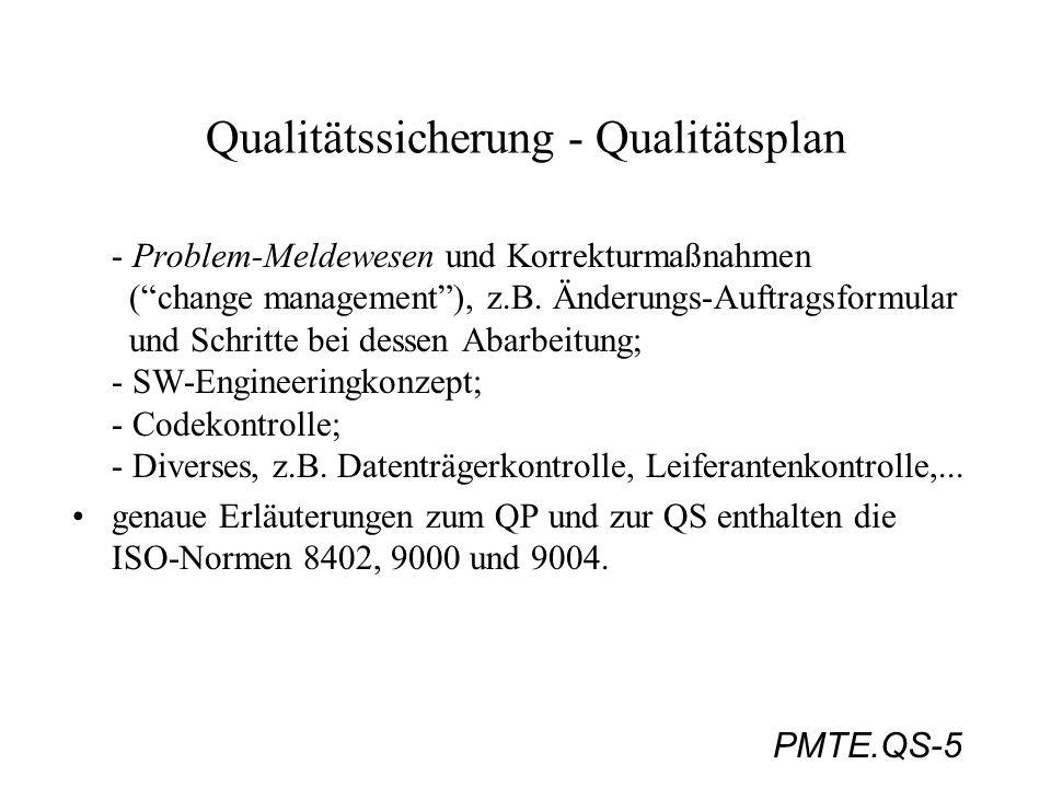 PMTE.QS-5 Qualitätssicherung - Qualitätsplan - Problem-Meldewesen und Korrekturmaßnahmen (change management), z.B. Änderungs-Auftragsformular und Schr