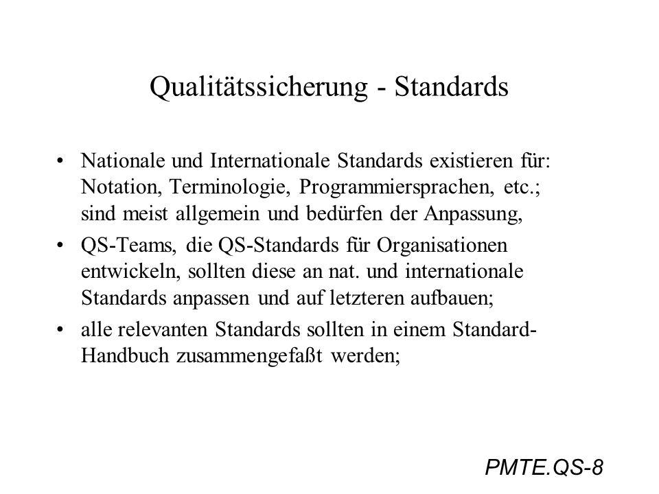 PMTE.QS-8 Qualitätssicherung - Standards Nationale und Internationale Standards existieren für: Notation, Terminologie, Programmiersprachen, etc.; sin