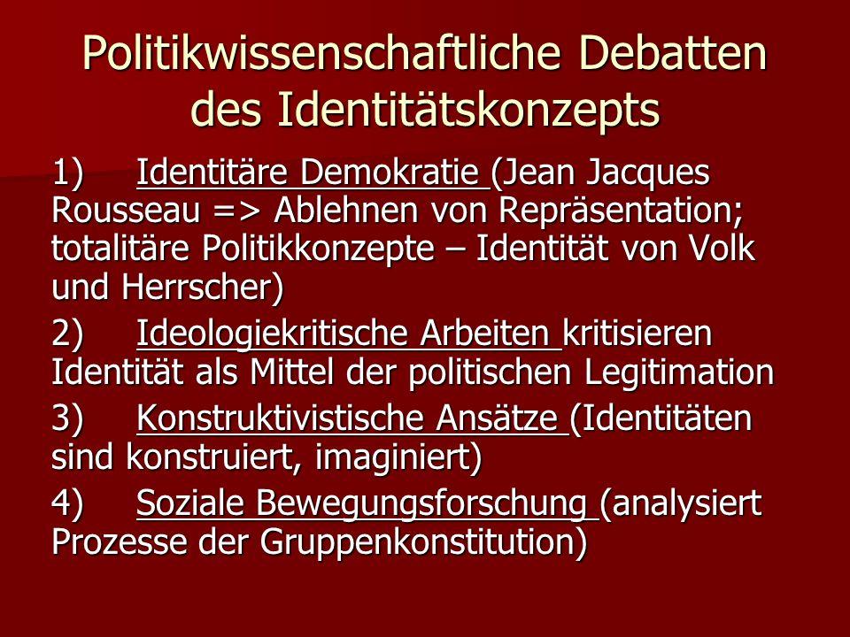 Politikwissenschaftliche Debatten des Identitätskonzepts 1)Identitäre Demokratie (Jean Jacques Rousseau => Ablehnen von Repräsentation; totalitäre Pol