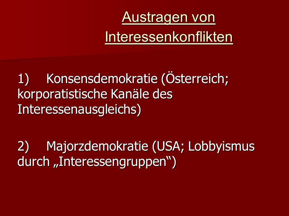 Austragen von Interessenkonflikten 1)Konsensdemokratie (Österreich; korporatistische Kanäle des Interessenausgleichs) 2)Majorzdemokratie (USA; Lobbyis