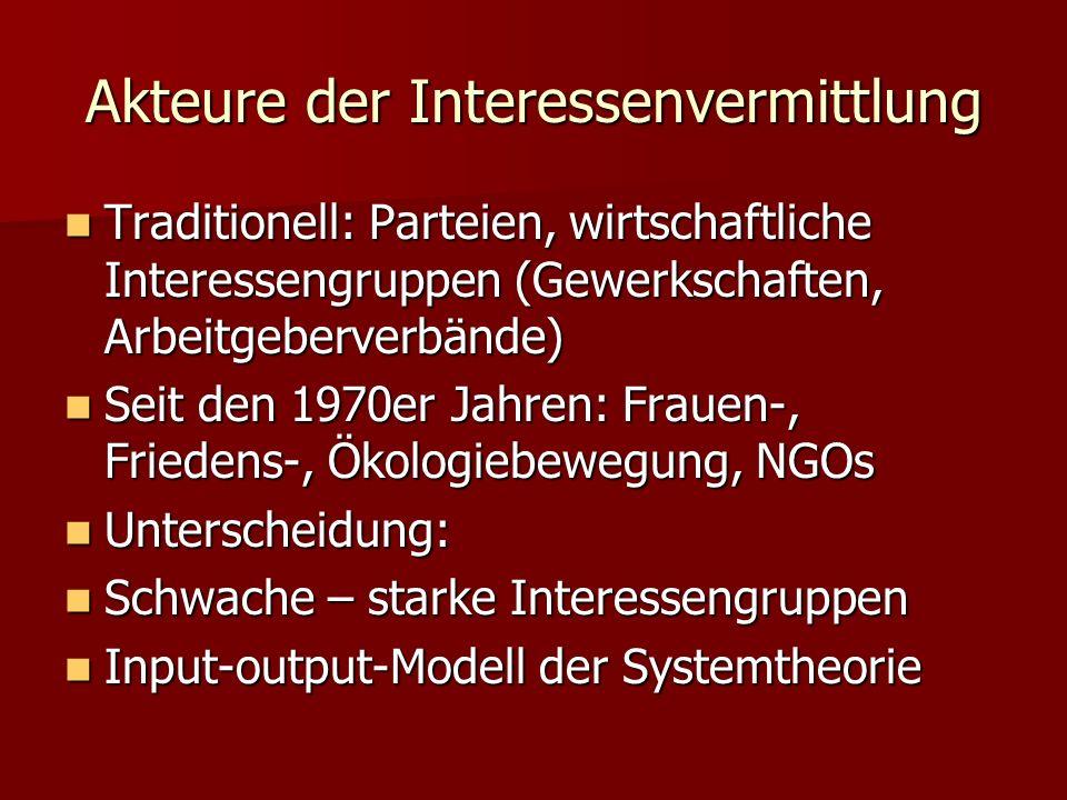 Akteure der Interessenvermittlung Traditionell: Parteien, wirtschaftliche Interessengruppen (Gewerkschaften, Arbeitgeberverbände) Traditionell: Partei