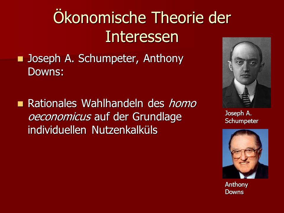 Ökonomische Theorie der Interessen Joseph A. Schumpeter, Anthony Downs: Joseph A. Schumpeter, Anthony Downs: Rationales Wahlhandeln des homo oeconomic