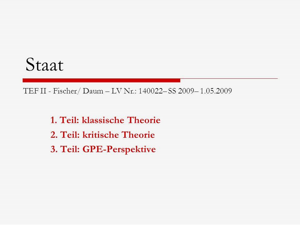 Staat 1. Teil: klassische Theorie 2. Teil: kritische Theorie 3. Teil: GPE-Perspektive TEF II - Fischer/ Daum – LV Nr.: 140022– SS 2009– 1.05.2009