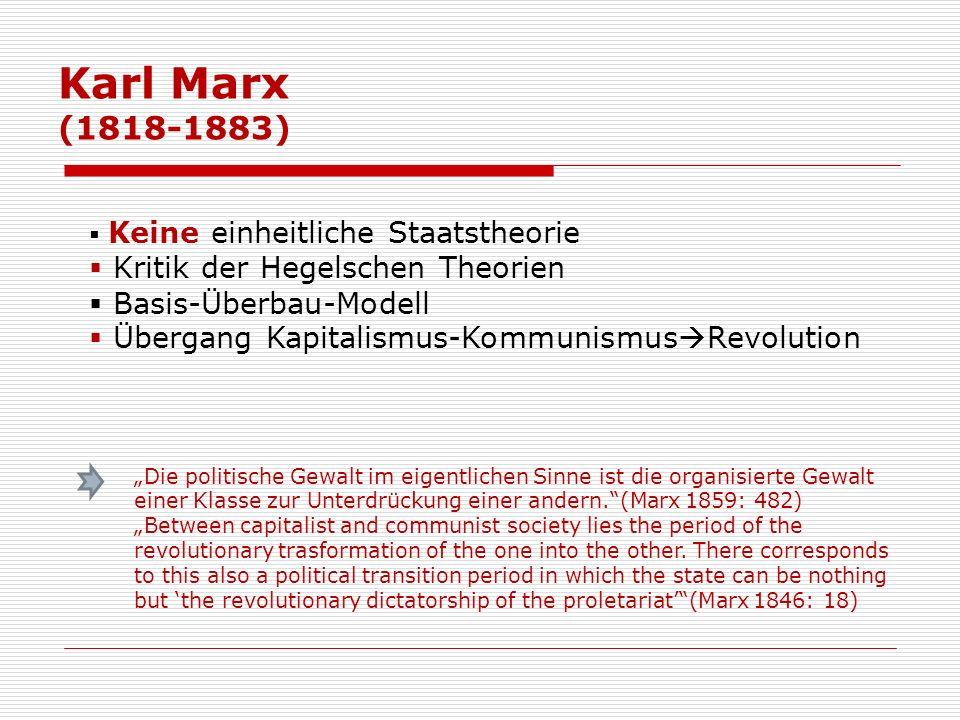 Karl Marx (1818-1883) Keine einheitliche Staatstheorie Kritik der Hegelschen Theorien Basis-Überbau-Modell Übergang Kapitalismus-Kommunismus Revolutio