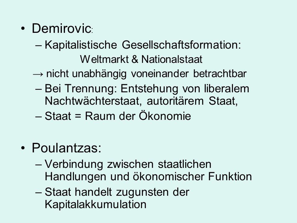 Demirovic : –Kapitalistische Gesellschaftsformation: Weltmarkt & Nationalstaat nicht unabhängig voneinander betrachtbar –Bei Trennung: Entstehung von