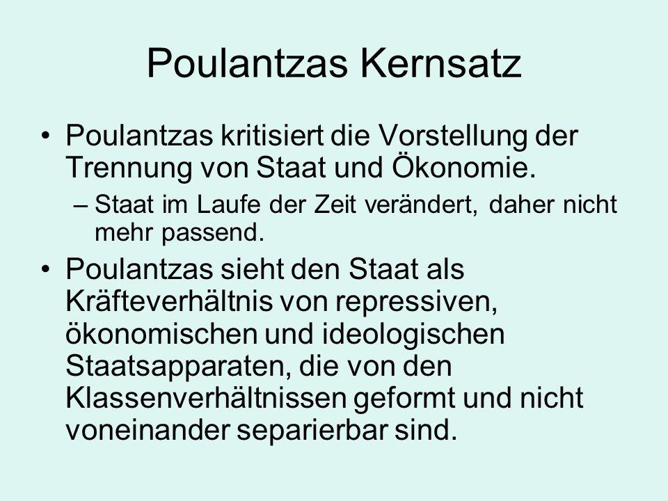 Poulantzas Kernsatz Poulantzas kritisiert die Vorstellung der Trennung von Staat und Ökonomie. –Staat im Laufe der Zeit verändert, daher nicht mehr pa