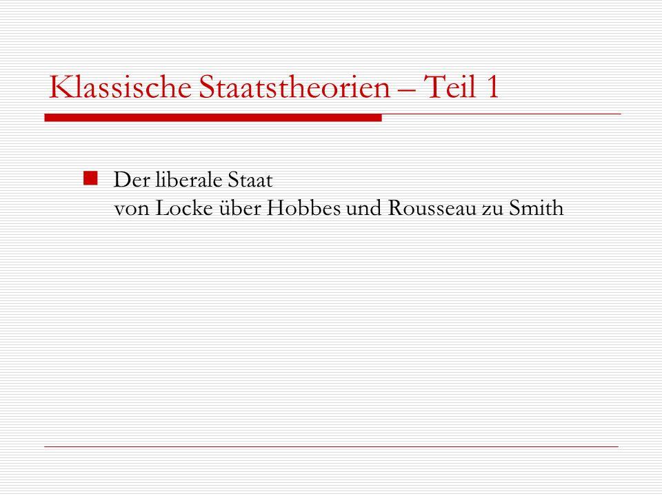 Klassische Staatstheorien – Teil 1 Der liberale Staat von Locke über Hobbes und Rousseau zu Smith