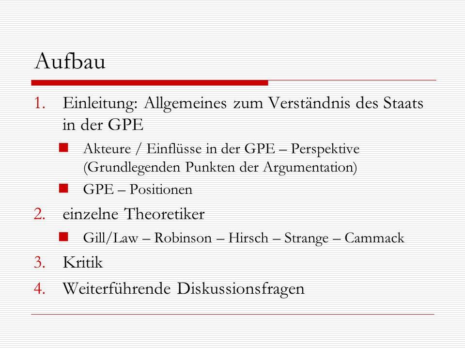 Aufbau 1.Einleitung: Allgemeines zum Verständnis des Staats in der GPE Akteure / Einflüsse in der GPE – Perspektive (Grundlegenden Punkten der Argumen