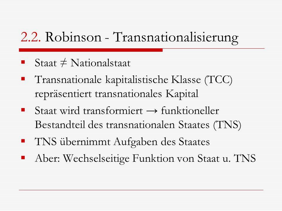 2.2. Robinson - Transnationalisierung Staat Nationalstaat Transnationale kapitalistische Klasse (TCC) repräsentiert transnationales Kapital Staat wird