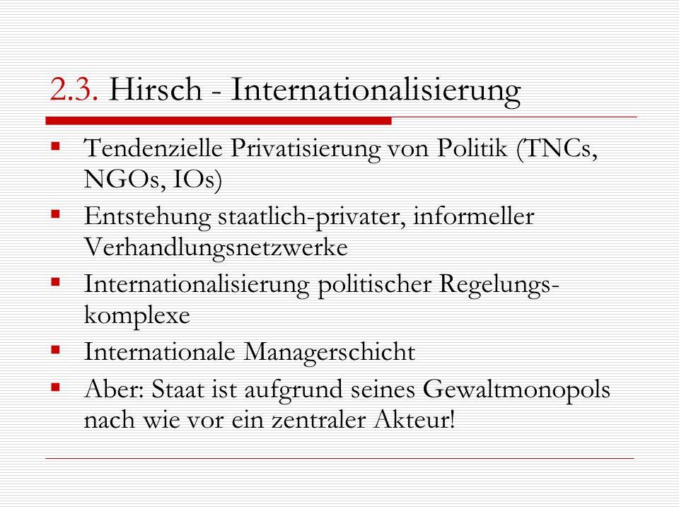 2.3. Hirsch - Internationalisierung Tendenzielle Privatisierung von Politik (TNCs, NGOs, IOs) Entstehung staatlich-privater, informeller Verhandlungsn