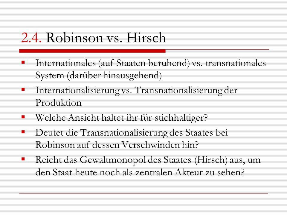 2.4. Robinson vs. Hirsch Internationales (auf Staaten beruhend) vs. transnationales System (darüber hinausgehend) Internationalisierung vs. Transnatio
