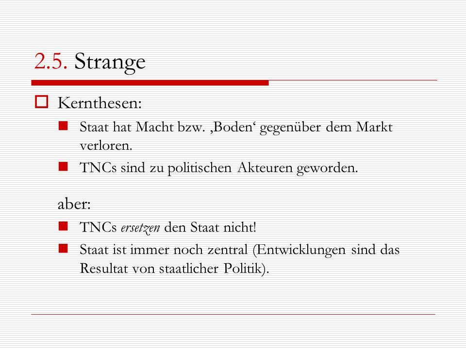 2.5. Strange Kernthesen: Staat hat Macht bzw. Boden gegenüber dem Markt verloren. TNCs sind zu politischen Akteuren geworden. aber: TNCs ersetzen den
