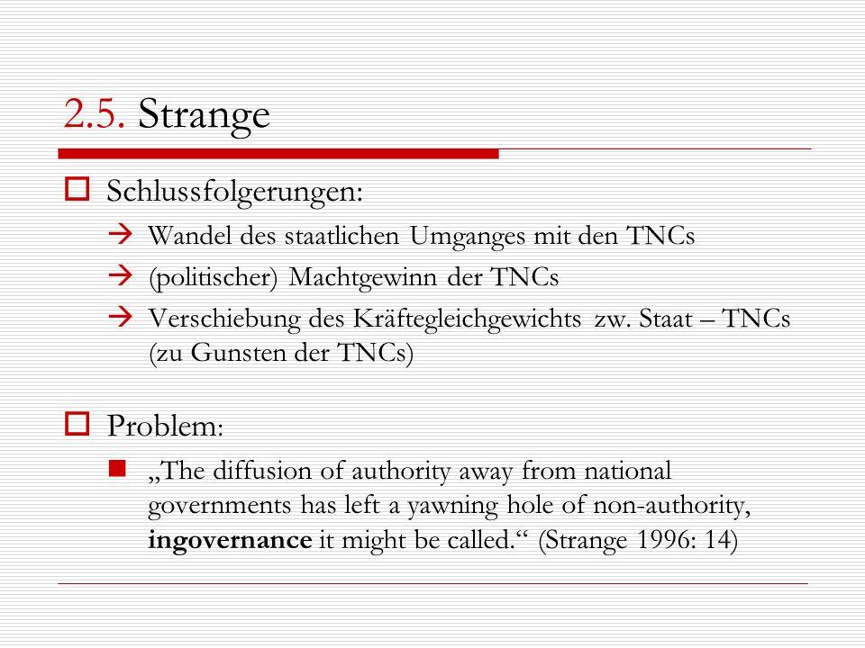 2.5. Strange Schlussfolgerungen: Wandel des staatlichen Umganges mit den TNCs (politischer) Machtgewinn der TNCs Verschiebung des Kräftegleichgewichts
