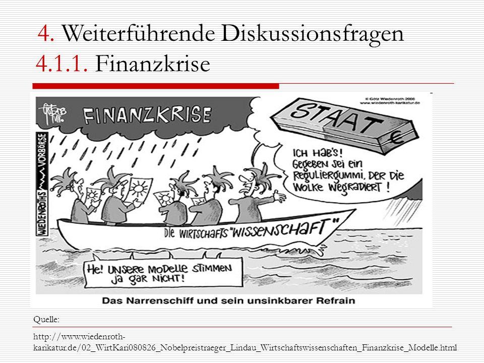 4.1.1. Finanzkrise Quelle: http://www.wiedenroth- karikatur.de/02_WirtKari080826_Nobelpreistraeger_Lindau_Wirtschaftswissenschaften_Finanzkrise_Modell