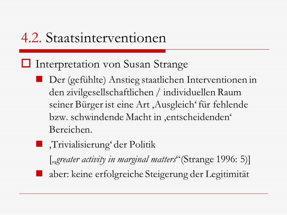 4.2. Staatsinterventionen Interpretation von Susan Strange Der (gefühlte) Anstieg staatlichen Interventionen in den zivilgesellschaftlichen / individu