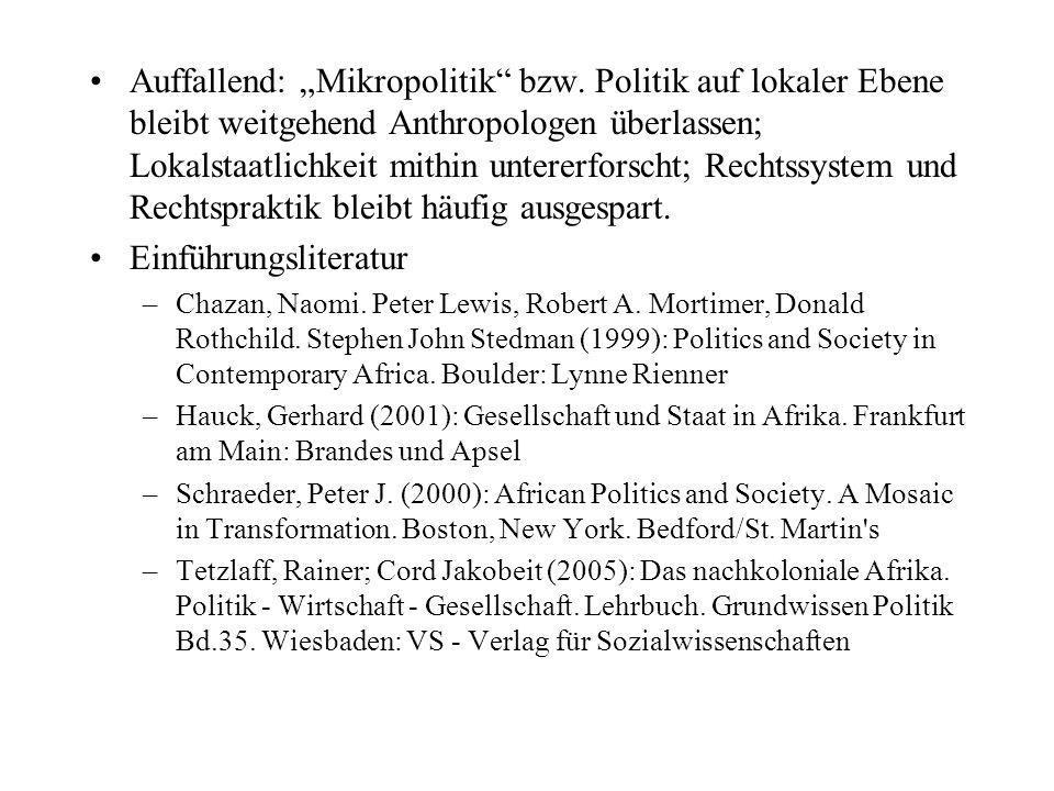 Politische Systeme Afrikas – eine Bestandsaufnahme Strukturellle Vielfalt vs.