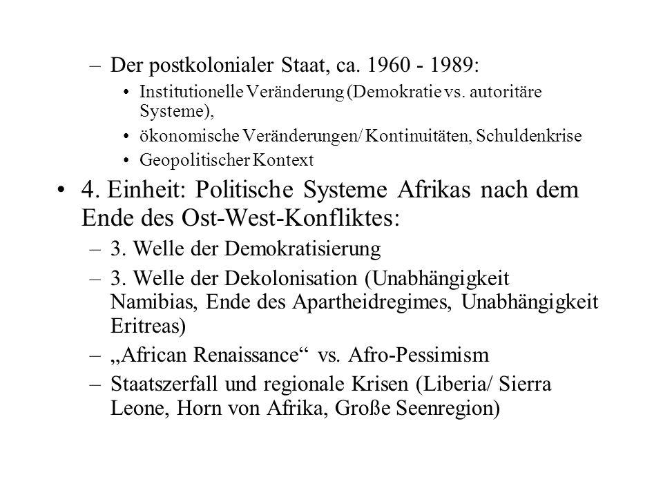 Exkurs: Politikwissenschaft und Afrika Erst mit der Dekolonisation begannen sich die großen universalistischen sozialwissenschaftlichen Disziplinen (allen voran Ökonomie, Soziologie und Politikwissenschaft) mit Afrika zu beschäftigen Bis 1960: Primat der Ethnologie – allerdings erschienen bereits vorher einige signifikante Analysen zu politikwissenschaftlichen Fragestellungen (z.b.
