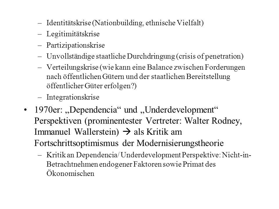 Als Reaktion auf Modernisierungstheorie und neomarxistische Analysen: ab den späten 1970ern eher staatszentrierte Analysen und neue theoretische Ansätze (neo-patrimonialer Staat, Klientelbeziehungen, etc.) Neu ab den späten 1970er Jahren: Political Economy, Public Policy Analyse (PPA.