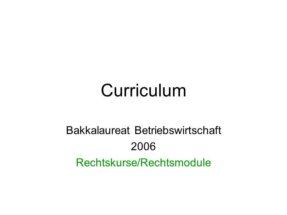 Curriculum Bakkalaureat Betriebswirtschaft 2006 Rechtskurse/Rechtsmodule