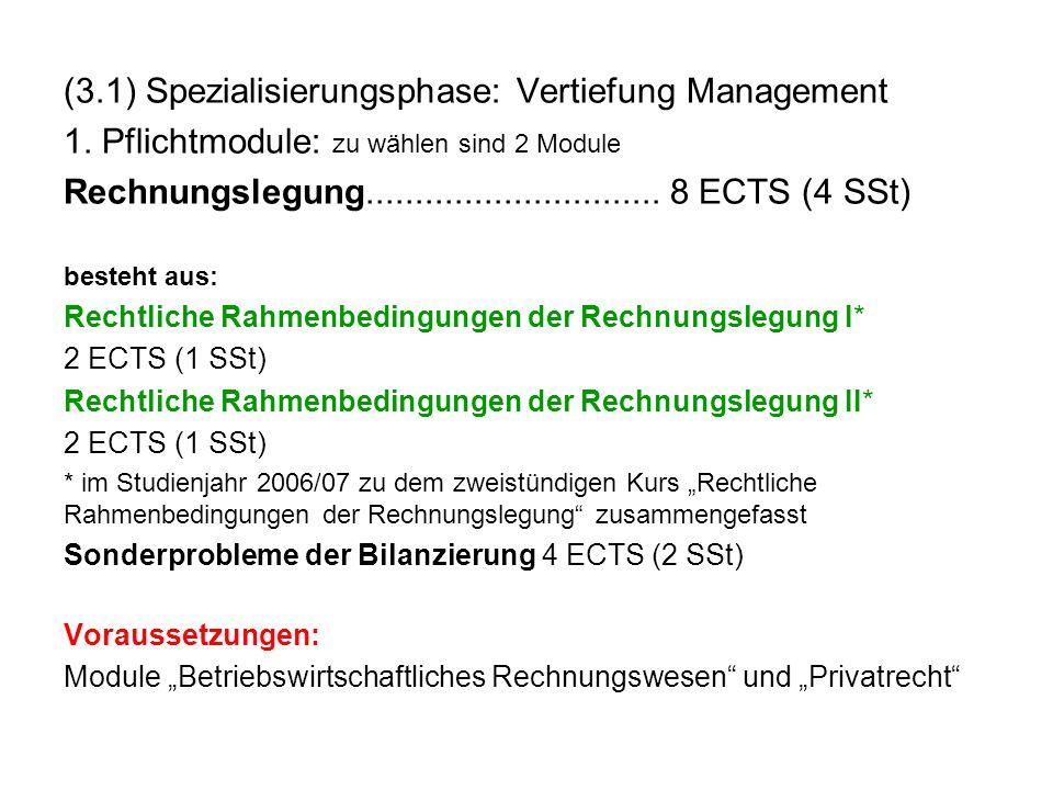 (3.1) Spezialisierungsphase: Vertiefung Management 1. Pflichtmodule: zu wählen sind 2 Module Rechnungslegung.............................. 8 ECTS (4 S